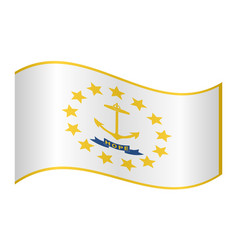 flag of rhode island waving on white background vector image vector image
