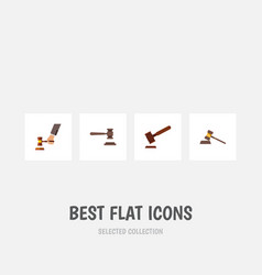 flat icon court set of court justice legal and vector image