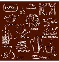 Hand drawn menu elements set vector image
