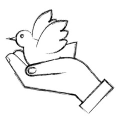 hand with peace dove vector image