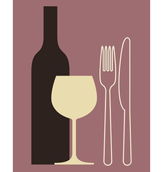 Bottle wineglass and cutlery vector image vector image