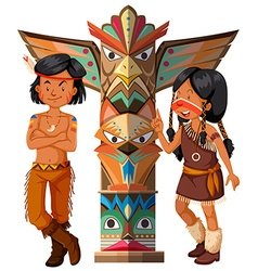 Two native americans and totem pole vector image vector image