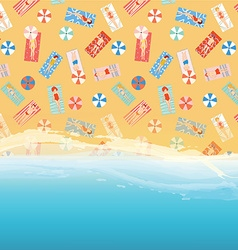 Beach background with ocean sand and people vector image vector image