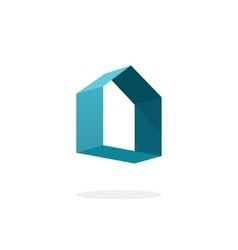 Blue 3d abstract geometric home logo house vector image