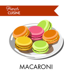 Delicious colorful macaroni from french cuisine on vector