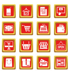 Shopping icons set red vector