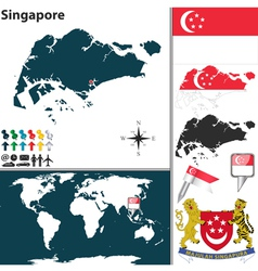 Singapore map world vector