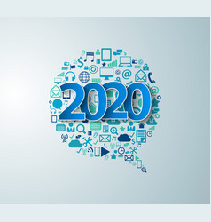2020 new year with app icons technology vector image