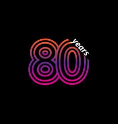 80 years anniversary celebration line color retro vector