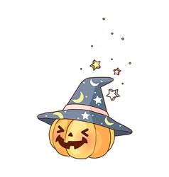 A magic hat on pumpkin vector