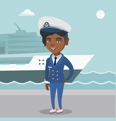 African ship captain in uniform at the port vector