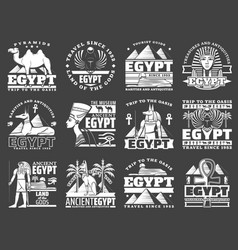 ancient egyptian pyramid god ankh sphinx icons vector image