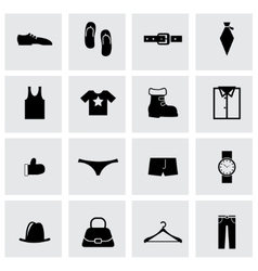 black clothes icon set vector image