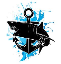 black silhouette shark anchor stylish shark logo vector image