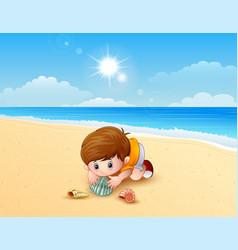 Boy playing a sea shells at the beach vector