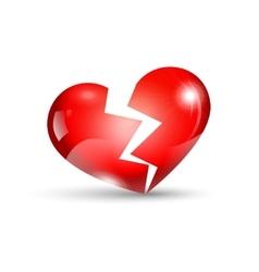 Broken heart isolated on white vector image