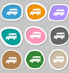Bus symbols Multicolored paper stickers vector image
