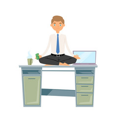 Business man meditation keep calm and relax vector