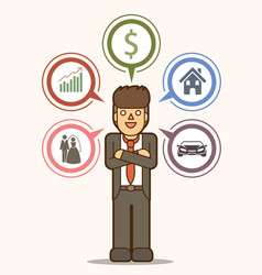 businessman vision goal dream in future vector image