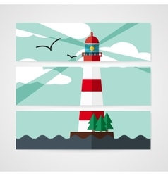 Cards with red beacon on island vector