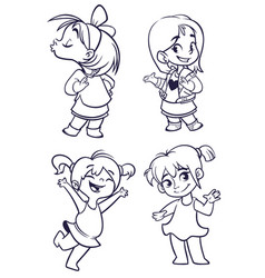 cartoon girls set vector image