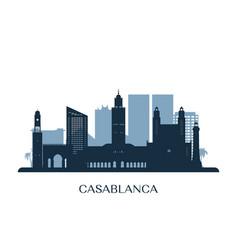 casablanca skyline monochrome silhouette vector image