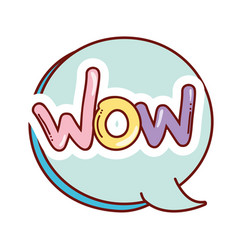 Chat bubble with wow pop art message vector