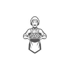 Chef man holding meat sausages silhouette vector