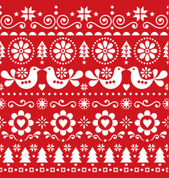 Christmas folk art seamless pattern vector