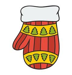 Christmas mitten vector
