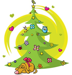 christmas tree with dog bird flower star and vector image
