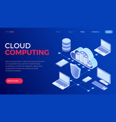 Cloud computing technology isometric vector