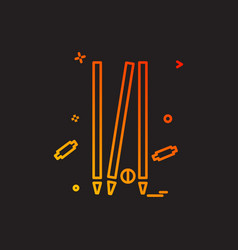 Cricket out yorker icon design vector