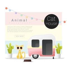 Cute animal collection Cat house 3 vector image
