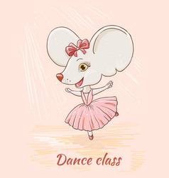 Cute cartoon mouse ballerina dancing vector