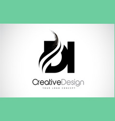Di d i creative brush black letters design with vector