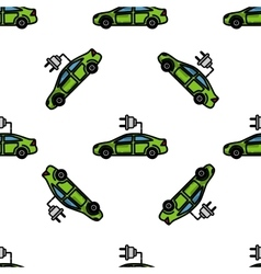 Electric car flat pattern vector image