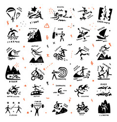 Extreme sports icon set doodle collection vector