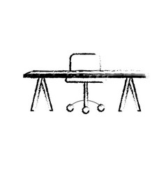 figure office wood desk with chair design vector image