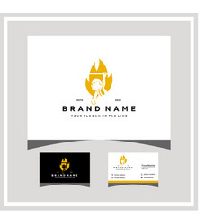 Fire monkey logo design with a business card vector