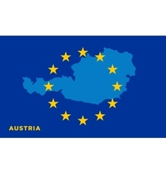 Flag of European Union with Austria on background vector