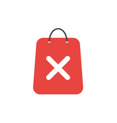 Flat design concept of shopping bag with x mark vector