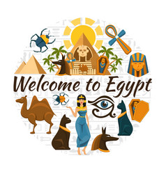 flat egypt travel round concept vector image