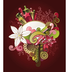 floral design with flowers stars and swirls vector image