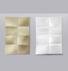 folded blank white and kraft paper sheets vector image