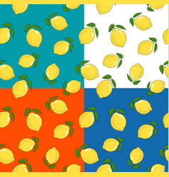 four seamless pattern with lemon vector image