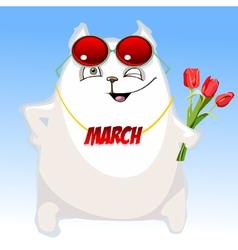 fun cartoon white cat congratulates on March 8 vector image