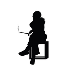 girl silhouette sitting and smoking in black color vector image
