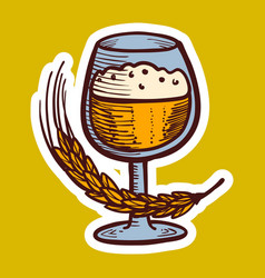 glass of wheat drink icon hand drawn style vector image