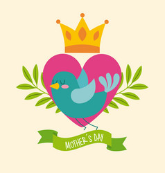 green bird heart crown leaves ribbon mothers day vector image